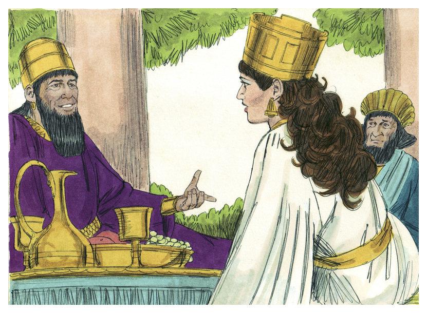 Ester pedindo ao rei assuero