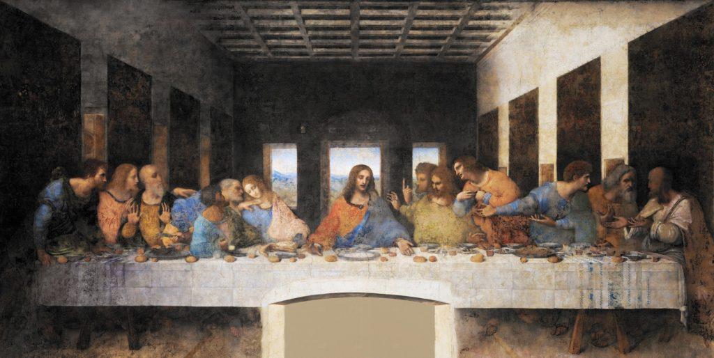 mesa com homens e Jesus cristo